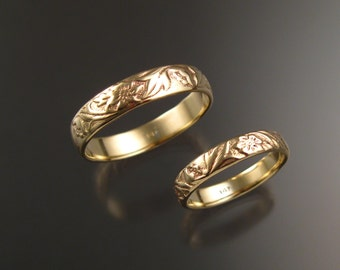 Yellow Gold wedding ring set flower and vine pattern Bands made to order in your sizes His and Her's 14k Victorian two ring set