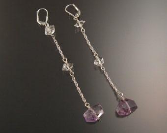 "Natural Polished Amethyst Crystal and Herkermer ""Diamond"" Quartz earrings Sterling Silver handcrafted long dangle earrings"