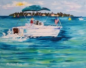 RESERVED for Wendy - Sea Pro in the Gulf - Original Palette Knife Oil Painting on Canvas - by Michelle Cain