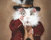 Simon Cranberry - Victorian Guinea Pig Portrait Print, Funny Cute Guinea Pig Art