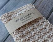 100% Cotton Crochet Wash Cloth, Crocheted Cotton Dish Cloth, Wash Rag Ecru Cream, Beauty, Spa, Eco-Friendly