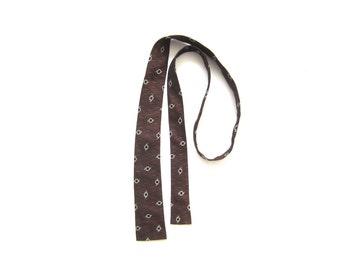 Vintage Skinny Tie, Mid Century Tie, Black, Orange, and White, Vintage Necktie, 1950s Tie, Square End Tie, Embroidered Tie