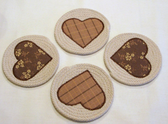 Coasters Coiled Fabric Coasters Mug Rugs Trivets by ...