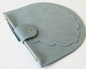 Scallop clutch blue, pale blue leather clutch, purse, shell clutch, shell, zip pouch,