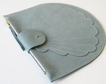 La Lisette leather bag clutch blue purse Scallop wallet shell zip pouch