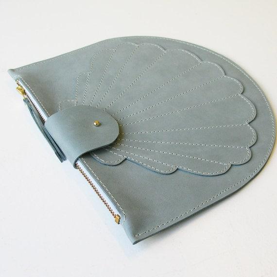 Scallop clutch blue, pale blue leather clutch, purse, shell clutch, shell, zip pouch,