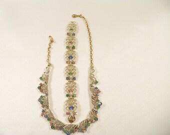 Precious Coro Pastel Rhinestone Necklace and Bracelet