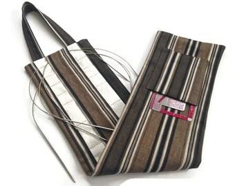 Circular Knitting Needle Hanging Organizer Black Brown Stripes