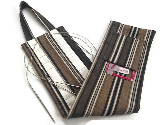 Circular Knitting Needle Storage Organizers : Circular knitting needle hanging organizer black brown stripes