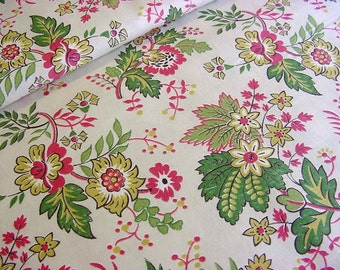 Vintage 50s Jacobean Stylized Floral Fabric -Rose Green Cotton - 36 wide  BTY