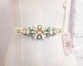 Opal Crystal Bridal Belt- Swarovski Crystal Bridal Sash- Mint Bridal Belt