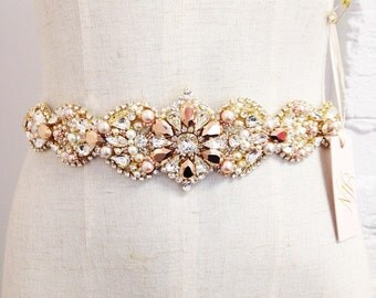 Custom Rose Gold and Blush Crystal Bridal Belt- Swarovski Crystal Bridal Sash- One-of-a-Kind Hand-Beaded -Vintage Glamour