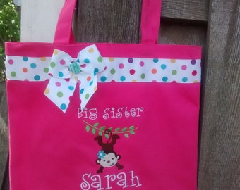 Large pink big sister bag- with Silly monkey