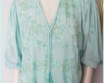 Vtg.80s Seafoam Green Diane Freis Georgette Beaded Gypsy Blouse Top.One Size.Bust up to 42.