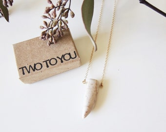 Howlite Off White Tooth 14kt Gold Filled Necklace - Insurance included in ALL domestic shipping!