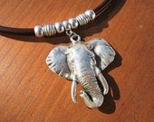 WOMEN LEATHER NECKLACE, elephant pendant, leather jewelry,  sterling silver plated  charms