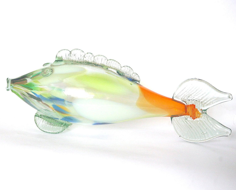 Art glass fish figurine hand blown murano style soviet glass for Blown glass fish
