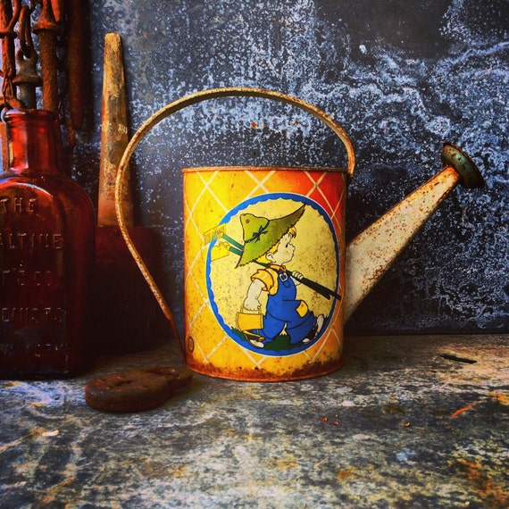 Tin Toy Watering Can Ohio Art Tin Toy Watering Can Rustic