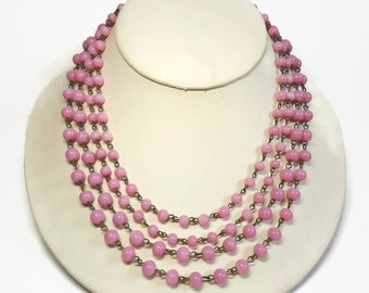 50s 4 Strand Rose Pink Glass Bead Bib Necklace Chain Link Design with J-hook Closure and Extender - Vintage 50's Beaded Costume Jewelry
