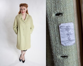 Vintage 1960s Wool Boucle Coat - Pastel Green - Youthcraft Fashions