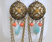 Vintage Boho Amazonite Chandelier Earrings