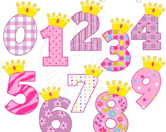 Princess Crown Numbers Cute Digital Clipart - Commercial Use OK - Princess Number - Princess Birthday Clipart