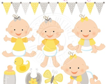 Gray and Yellow Baby Girl Cute Digital Clipart - Commercial Use OK - Cute Baby Clipart, Baby Graphics, Gray and Yellow Baby