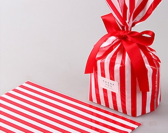 10 Stripe Cellophane Bags - Red (5.5 x 7.9in)