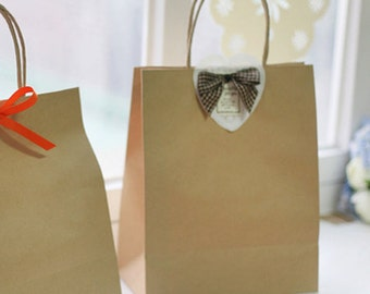 5 Basic Kraft Paper Shopping Bags - S size (8.7 x 10.6in)