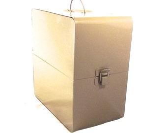 Metal Storage Box, Vintage Brown Case Designed for Holding Movie Reels