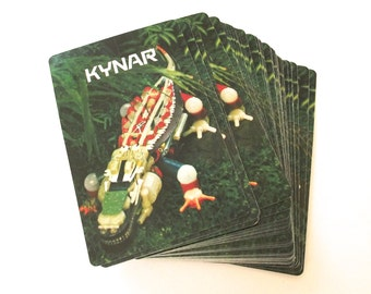 Kynar Plastics Alligator Playing Cards, Vintage Complete Deck of Illustrated Cards
