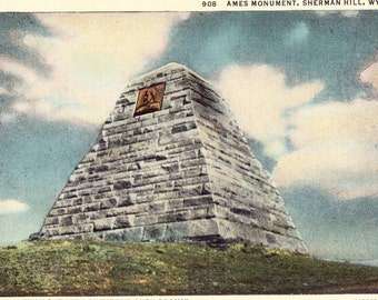 Ames Monument, Sherman Hill, Wyoming Vintage Souvenir Postcard Tinted Illustration, Unused