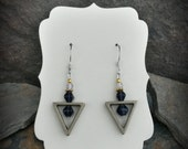 Gold Triangle Dark Purple Sterling Silver Earrings, Gold Triangle Purple Earrings, Gold Purple Sterling Silver Earrings