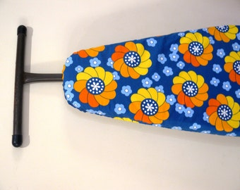 Ironing Board Cover - retro look bright orange and yellow pinwheels on blue - Decor