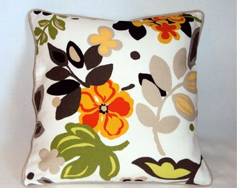 SALE 16x16 Mod Multi Color Braemore Floral Decorative Pillow Cover - Purchase With Or Without Pillow Form