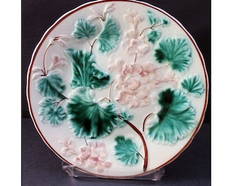 MAJOLICA SALE TAKE 25% off Antique Majolica Plate with Geraniums 1