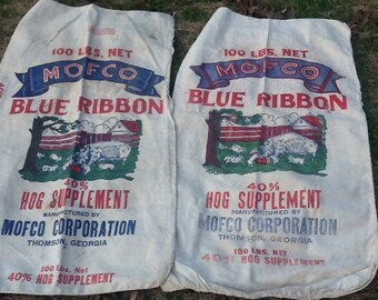 Vintage Hog Feed Sack Cotton Pigs Thomson Georgia feedsack