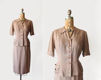 1940s skirt suit - 40s skirt set - rayon - starburst rhinestone buttons - Medium - tan light brown - two piece