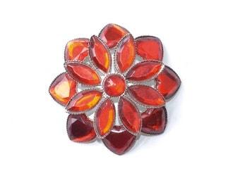 Red Brooch Vintage Jeweled Starburst Red  Brooch