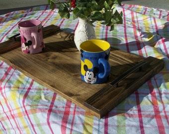Rustic Wood Serving Tray, Wlanut Finish