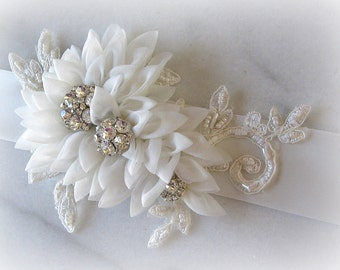 Light Ivory Bridal Sash, Wedding Sash with Crystals and Lace, Organza Flowers Wedding Belt, Off-White Sash - TESSA