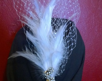 Wedding Fascinator with silver accents, rhinestones and feathers