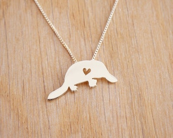 Platypus necklace, tiny sterling silver hand cut pendant with heart