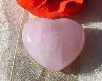 Rose Quartz Solid Gemstone Puffy Heart - 35mm