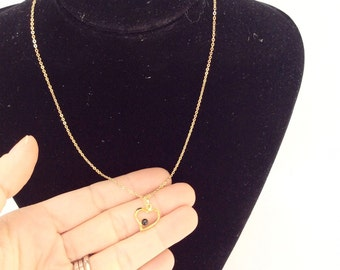 Heart necklace small heart pendant with black stone ball gold tone chain