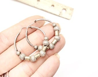 Vintage Sterling hoops earrings with textured beads sterling hoops earrings pierced jewelry