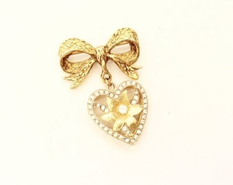Bow and Heart brooch rhinestone vintage bow and heart pin PARK LANE signed heart