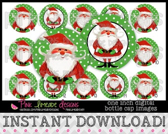 "Jolly Vintage Santa - INSTANT DOWNLOAD 1"" Bottle Cap Images 4x6 - 719"