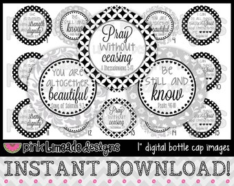 "Be Still and Know 2 - INSTANT DOWNLOAD 1"" Bottle Cap Images 4x6 - 711"