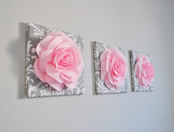 Nursery decor trio set 12 x 12 canvases wall decor light for Pink and grey bathroom decor